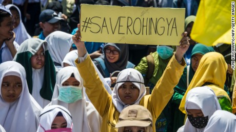 Indonesians protest against Myanmar and in support of the Rohingya, in the city of Surabaya on Tuesday.