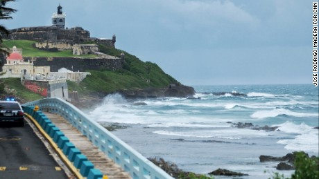 "Waves crash in San Juan, Puerto Rico, as Hurricane Maria nears the island on Tuesday, September 19. Maria is churning through the Caribbean, threatening islands that were already crippled <a href=""http://www.cnn.com/2017/09/07/americas/gallery/hurricane-irma-caribbean/index.html"" target=""_blank"">by Hurricane Irma</a> earlier this month."