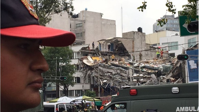 A rescue operation is underway Thursday at a collapsed building in Mexico City's Condesa section.