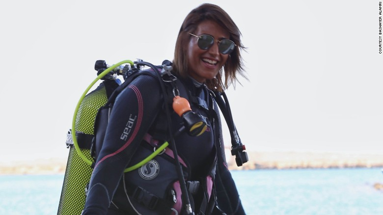 Nouf Alosaimi, a 29-year-old diving instructor based in Jeddah, is pictured in diving gear.
