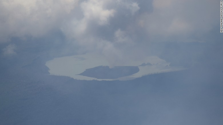 Imagery taken during a New Zealand Defence Force aerial survey showing activity from the Monaro volcano on Vanuatu's Ambae Island.